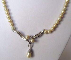 Brillant Collier Bijou Vintage Argent Pur 925 Poinçon Perles Nacrées Pampille Poire 342 TrèS Poli