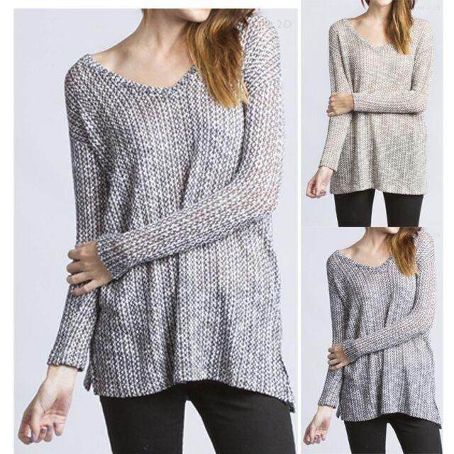 Wide V-Neck Long Sleeve Fishnet Mesh Knit Top Slits Comfortable Loose Fit S M L