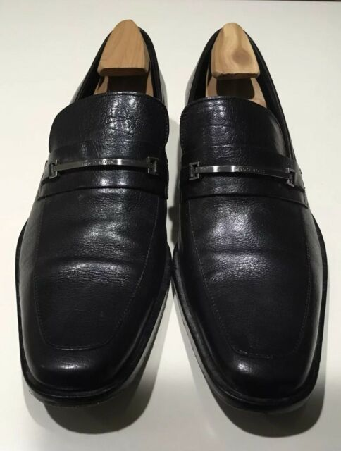 1a09e8ffd4f BOSS Hugo Boss Vero Cuico Men s Size 9.5 Black Leather Dress Shoes Horsebit