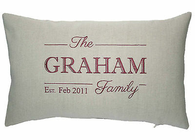 PERSONALISED FAMILY NAME + Date Embroidered Bolster Cushion Cover Cotton Linen