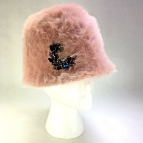 Vtg Pink Faux Fur Jeweled Brooch Cloche Bucket Ang
