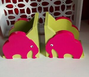 Serre Livres Déco Chambre Enfant En Bois 2 Kilo 800 éléphants Fuchsia Vert Tbe Kst6xv6o-07223131-208140088