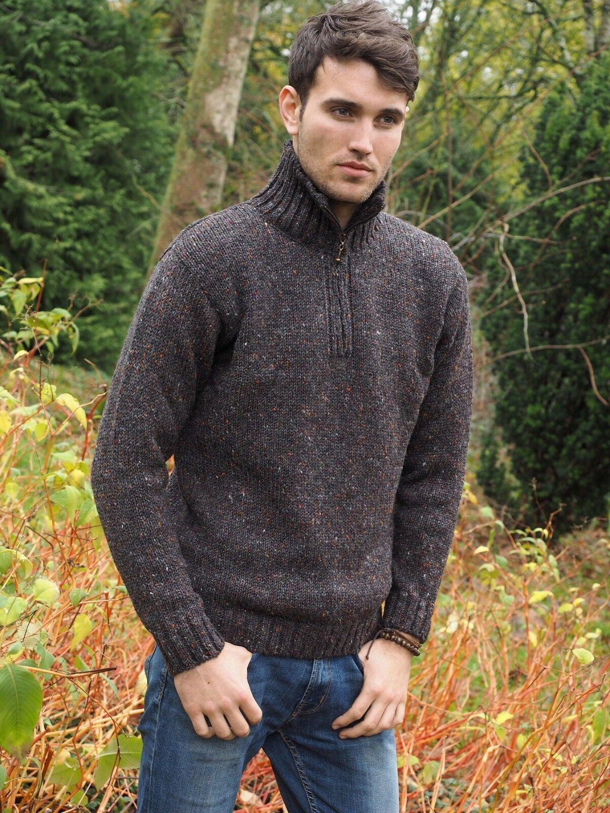 Color marrón moteado irlandés hecho Donegal  Aran Lana Para Hombre Suéter Half Zip Z2040  Seleccione de las marcas más nuevas como
