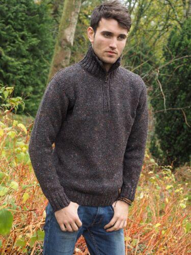 irlandaise tacheté Pull pour moitié zippé hommes couleur en de zippé irlandais à Donegal laine xhQBrtsCd