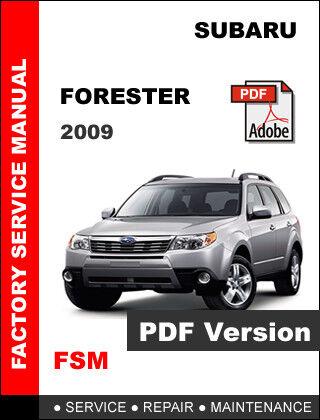 Subaru forester workshop repair manual.