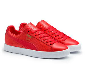 PUMA-Clyde-Dressed-Snakeskin-Red-361704-03-sz-8-5-Animal-Pack-Croc-Premium