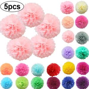 5-Pack-Tissue-Paper-Pompoms-Pom-Poms-Hanging-Flower-Balls-Fluffy-Wedding-Decor