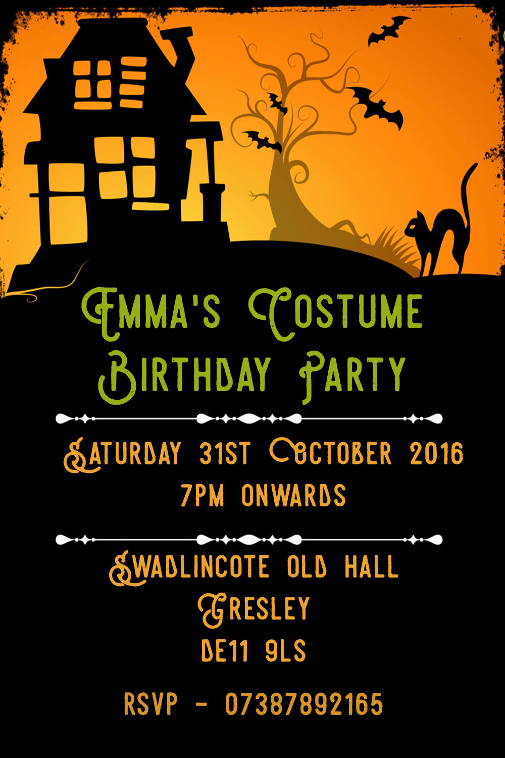 Personalised Spooky Horror Costume Birthday Party Invites inc envelopes B83