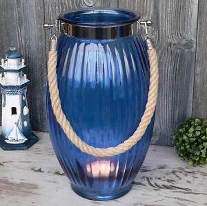 xl windlicht glas blau maritim mit kordel 38cm gro laterne garten deko vase neu ebay. Black Bedroom Furniture Sets. Home Design Ideas