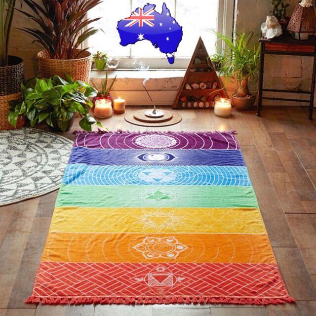 Rainbow 7 Chakra Tapestry Towel Meditation Yoga Mat Boho Beach Shawl Sarong Gift
