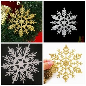 12x Glitter Snowflakes Christmas Decorations Xmas Tree Sparkle Hanging Ornament Ebay