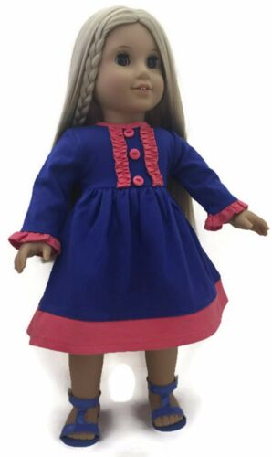"""Royal Blue /& Coral Knit Long Sleeved Dress fits 18/"""" American Girl Doll Clothes"""