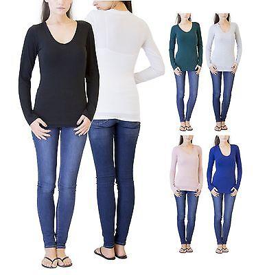 New Women's Basic Solid Plain Long Sleeve V-Neck Top Shirt