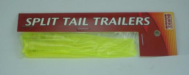 "Burke 770-182 Split Tail Trailer White Red Hot 4/"" SW Soft Plastic Fishing Lure"