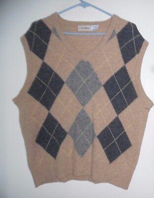 Men's Clothing Bean Beige Argyle Lambswool Vest Sleeveless,sz L Online Discount Vintage Men L.l