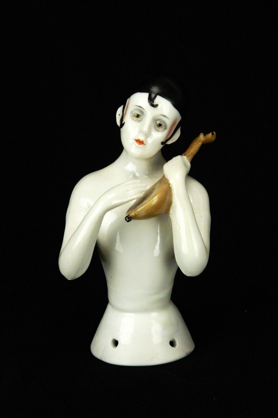 Vintage Alemana De Porcelana mitad Muñeca Alfiletero C1920