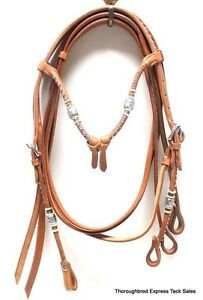 D-A-Brand-Natural-Leather-Futurity-Brow-Bridle-w-Silver-Ferrules-Horse-Tack