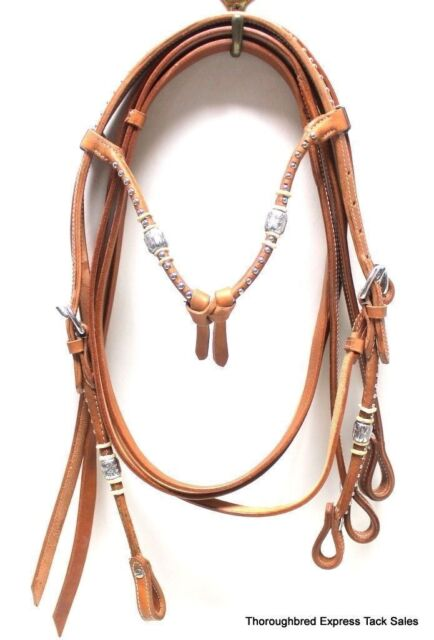 D.A. Brand Natural Leather Futurity Brow Bridle w/ Silver Ferrules Horse Tack