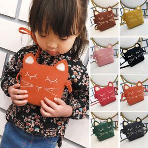 1d1597252b14 New Baby Kids Girls Cats Messenger PU Bags Wallet Crossbody Bag Cute ...