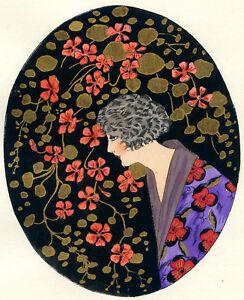1930s-French-Pochoir-Print-Young-Geisha-Woman-Fashion-Kimono-Pink-Flowers-S