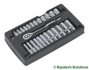 Sealey-Tools-AK66482-Ratchet-Wrench-amp-Socket-Rail-Set-3-8-034-Drive-6-Six-Point-New