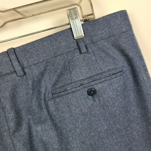 Zanella Devon Flat Front Blue Brushed Wool Men Dre