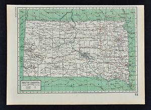 1949 Britannica Map South Dakota Pierre Sioux Falls Rapid City ... on