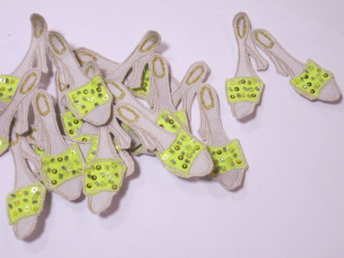 10 x Gold Yellow Beaded Sequin Ladies High Heel Shoes Crafts Making Motifs #7A89