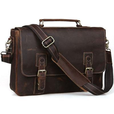 "Mens Vintage Cow Real Leather Briefcase Messenger Bag 15"" Laptop Case Crossbody"