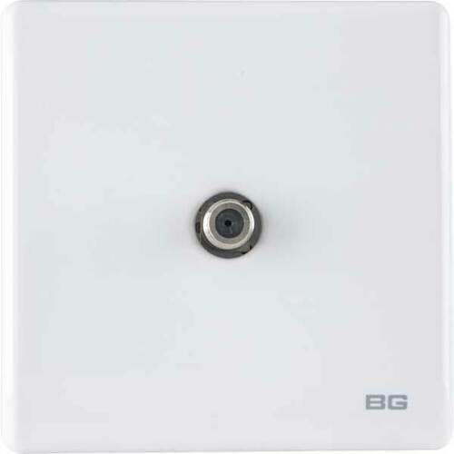 BG Général Britannique Standard En Plastique Blanc Mural Secteur Prise Commutée Screwless