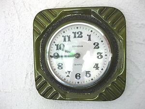 DUGENA-Porzellan-Kuechenuhr-Wanduhr-Uhr-Glas-zum-oeffnen-70er-Jahre