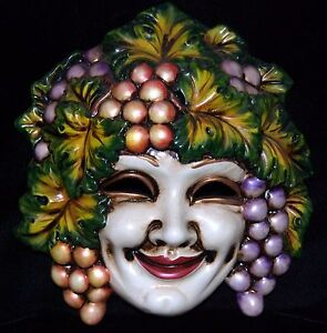 Bacchus Dionysus God of Wine Grapes Harvest Mask Wall ...