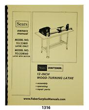 Sears Craftsman 12 Wood Lathe 11323801 160 Instructions Amp Parts Manual 1316