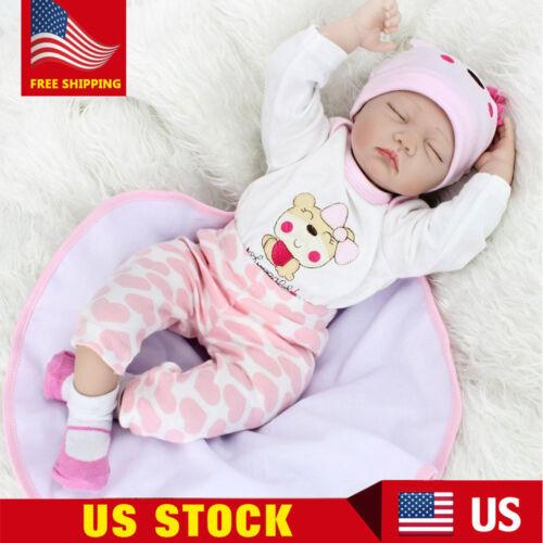22inch Handmade Reborn Baby Dolls Vinyl Silicone Newborn Doll Birthday Gift US