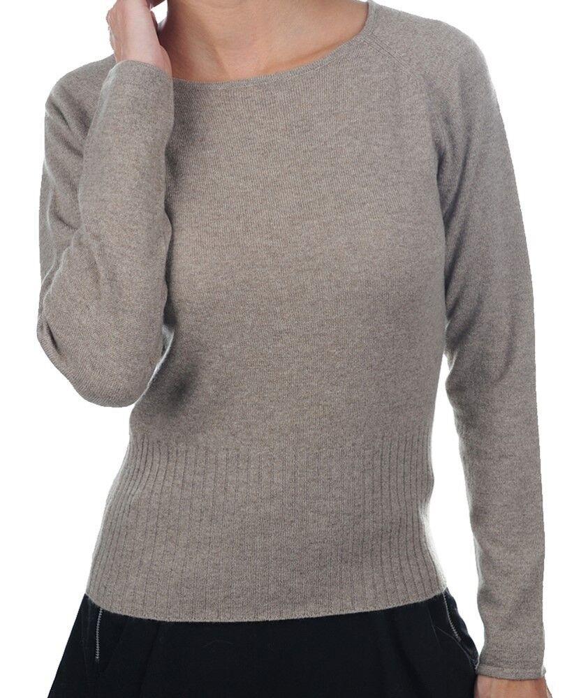Balldiri 100% Cashmere Damen Pullover Rundhals 2-fädig naturbraun meliert XL