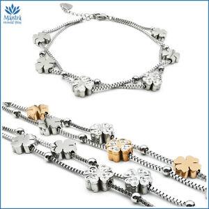 Bracciale da donna braccialetto multifilo portafortuna con quadrifoglio acciaio