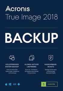 Acronis True Image 2018 3-PC / 2019* Dauerlizenz / Datensicherung/HDD-Copy / KEY