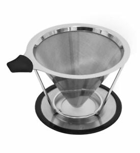 Stainless-Steel-Pour-Over-Cone-Dripper-Reusable-Coffee-Filter-w-Cup-Stand