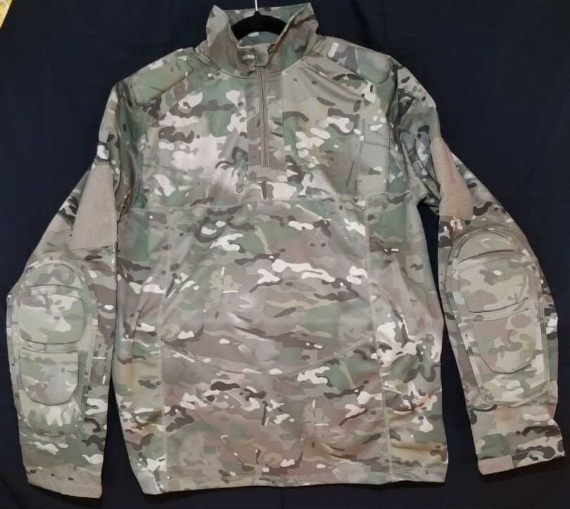 Military Airsoft Combat Shirt Army Gen 3 Tactical w Elbow Pads Multicam LARGE