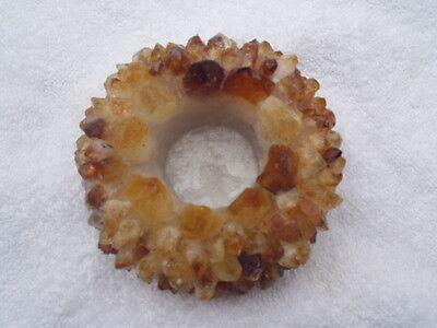 Crown Points Citrine Golden Quartz 4 inch Round Gemstone Candle Holder FREE SHIP