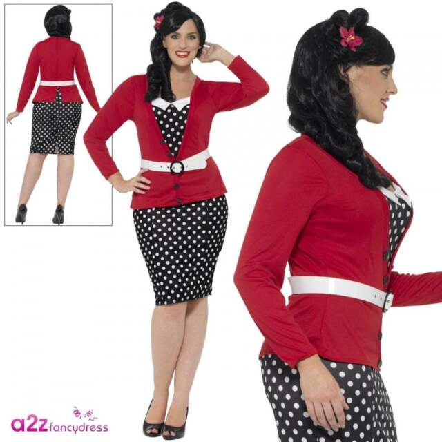 4629f6a641e4 Ladies Curves 50s Pin Up Adult Womens Plus Size 1950s Fancy Dress Outfit