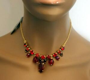 Details about pilgrim danish design ruby red crystal necklace gold