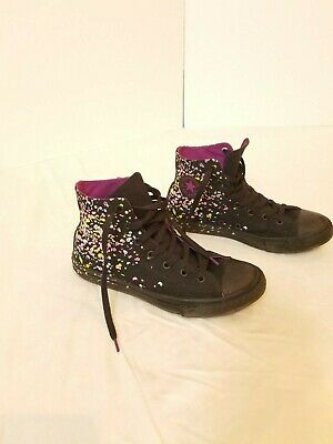 CONVERSE ALL STAR Girls Black Confetti Splatter Print Shoes Size 5 EUC worn 1x | eBay