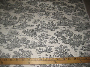 Details about CHARCOAL/IVORY TOILE BY MILL CREEK FABRICS 100% COTTON FABRIC  45