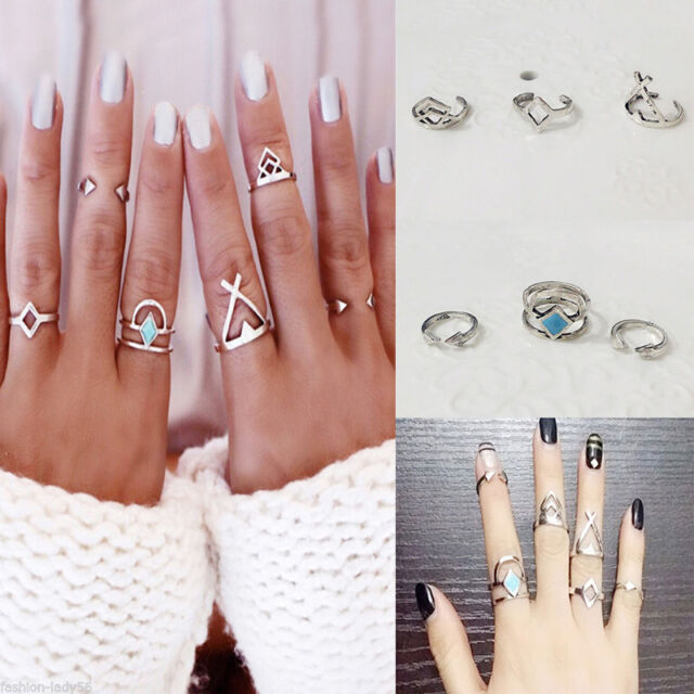 6pcs/Set Bohemian Turquoise Arrow Ethnic Boho Open Midi Knuckle Ring Gift