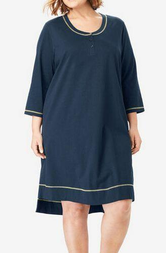 Co Navy Sleepshirt 3//4 Sleeves Henley Style Neckline High Low Hem Dreams