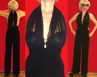 DAVID HOWARD MARILYN HALTER BLACK JUMPSUIT SHEER STRAPS OPEN BACK FAUX PEARL 4