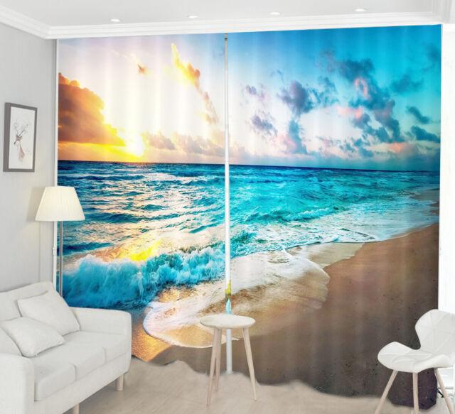 Sunny Beach Palm Tree 3D Blockout Photo Printing Curtains Drape Fabric Window 11