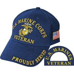 United States Marine Corps Veteran Proudly Served Blue Hat Cap USMC