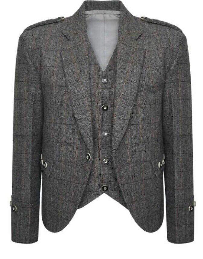 Check Tweed Crail Highland Kilt Jacket and Waistcoat Scottish Grey Wedding Dress